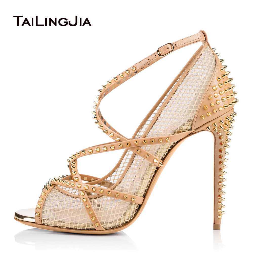 Heels Nude 2019 Ladies 99peep Shoes Heel Women Us65 Pumps Toe In Summer Sandals Strappy Mesh Women's Spikes Studded Fishnet Black High For TPZulwXiOk