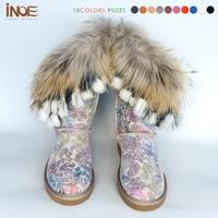2014 Fashion Nature Fox Fur Tassels Genuine Leather High Quality Snow Boots For Women Winter Shoes