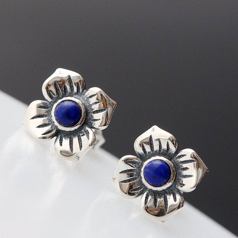 Ecoworld Ge hand set jewelry wholesale natural Lapis Thai Tremella nail 925 Sterling Silver Vintage Style Earrings