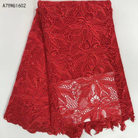 @ High Quality African Lace fabrics/african Mesh cord Lace/Red guipure lace Fabrics with stones for wedding dress material