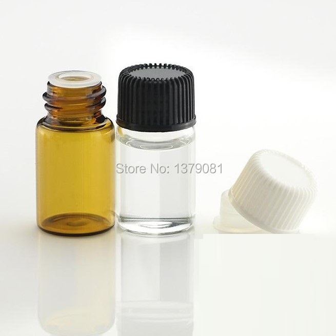 20Pcs 16x21mm Bottles Amber Glass Essential Brown Vials 1ml With Screw Caps