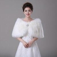 Cheap New Ivory Faux Fur Crystal Brooch Wedding Wrap Bridal Cape Bridal Wrap Shrug Stole Cape
