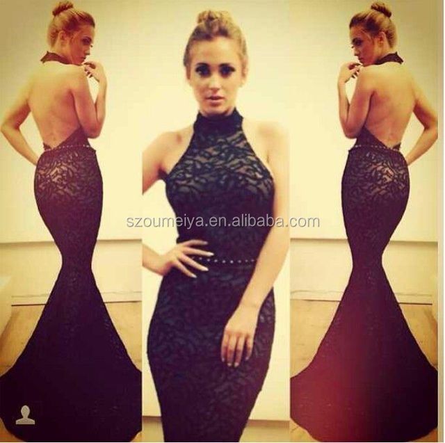 8daf3e8a8d52 OUMEIYA OEE999 Mermaid Halter Nude Satin Long Black Evening Long Dress Lace  with Low-cut Back