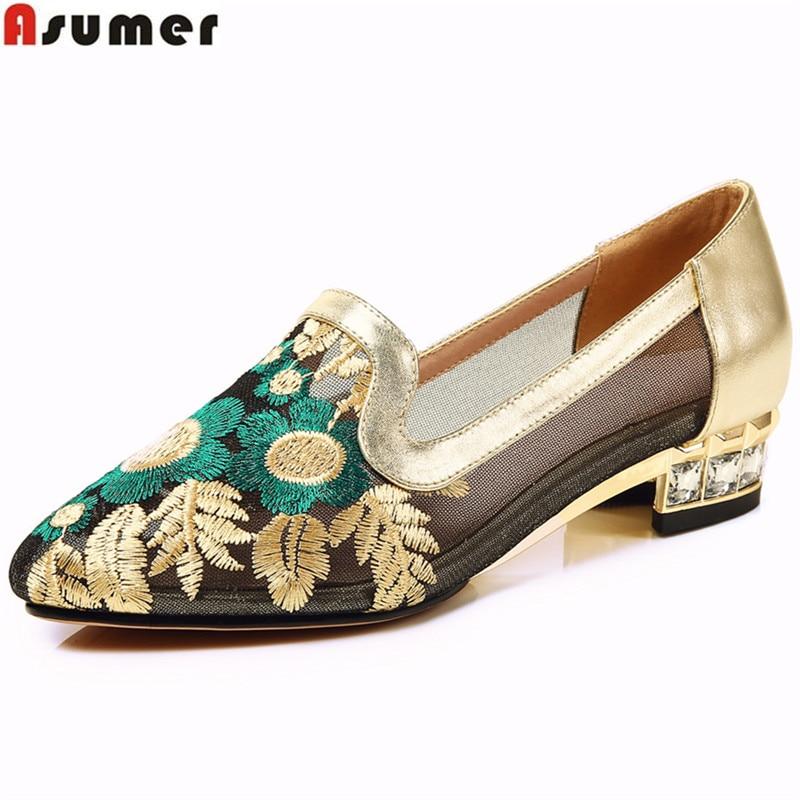 ASUMER золото синий мода острым носом низком каблуке свободного покроя один обувь женщина квадратный каблук натуральная кожа+кружева женщины большой обувь Размер 33-43