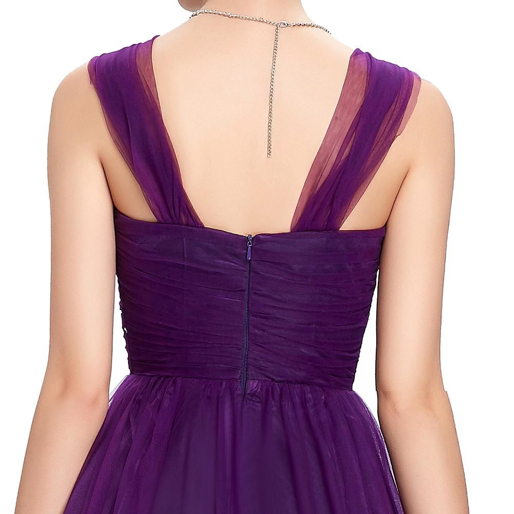 Long Purple Tulle Backless Elegant Bridesmaid Dress 3