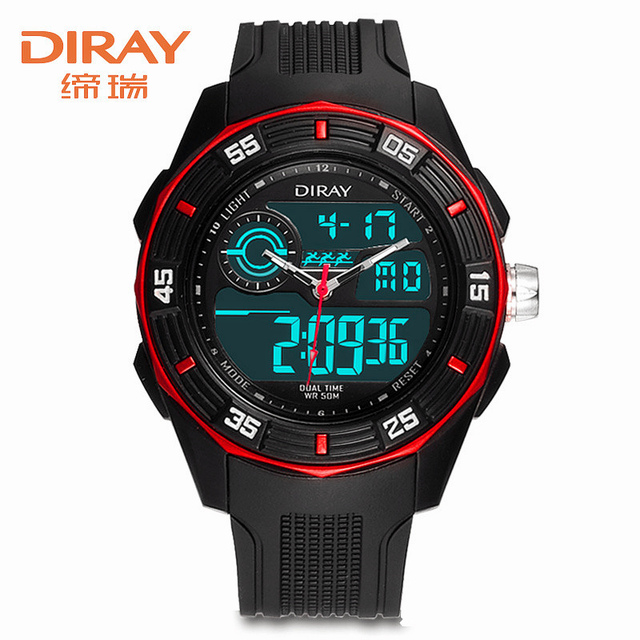 Men Watches Male Fashion DIRAY Double Movt Military LED Digital Quartz Watch 5Bar Waterproof Sports Wristwatch Relogio Masculino