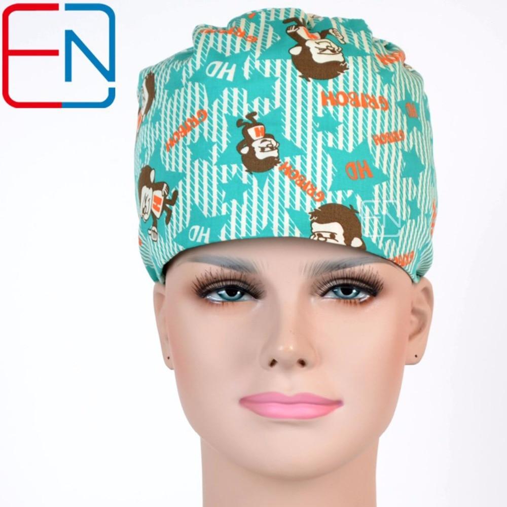 Hennar Women Medical Kojící čepice Bavlněné chirurgické čepice Masks Green Print Vysoce kvalitní nastavitelné dámské nemocniční pracovní masky