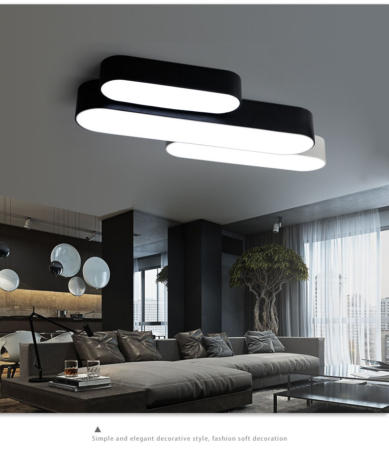Nordic LED Ceiling Light, White / Black Iron Long Lamp, Cool / Warm White Light LED Simple Modern Lights and Remote Optional black and white round lamp modern led light remote control dimmer ceiling lighting home fixtures