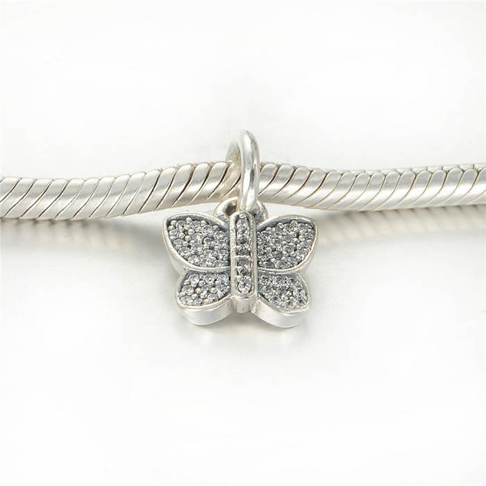 1cfe10233 925 Sterling Silver Sparkling butterfly with White light paving European  charm beads fits Pandora bracelets and necklaces LW501-in Beads from Jewelry  ...