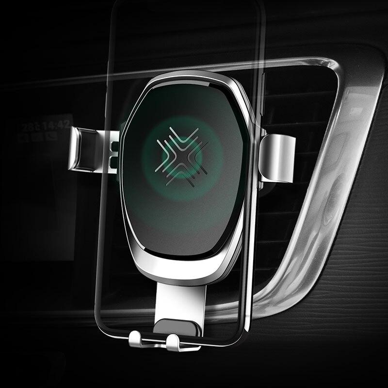 Chargeur sans fil de support pour voiture de gravité en métal pour iPhone 8 X, alliage de roche 10 W support de chargeur de voiture sans fil de gravité Qi pour Samsung