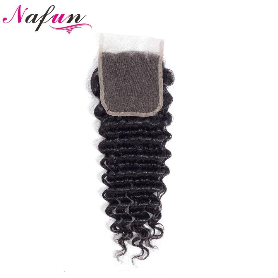 NAFUN волос Малайзии глубокая волна не Волосы remy ткань 4 Связки Natural Цвет человеческих волос Связки с 4*4 Кружева застежка