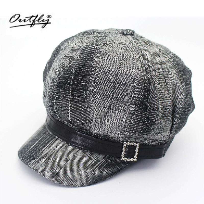 Autumn Feather Check Fashion cap Women s Style Mono Octagonal Hat Elegant Dome