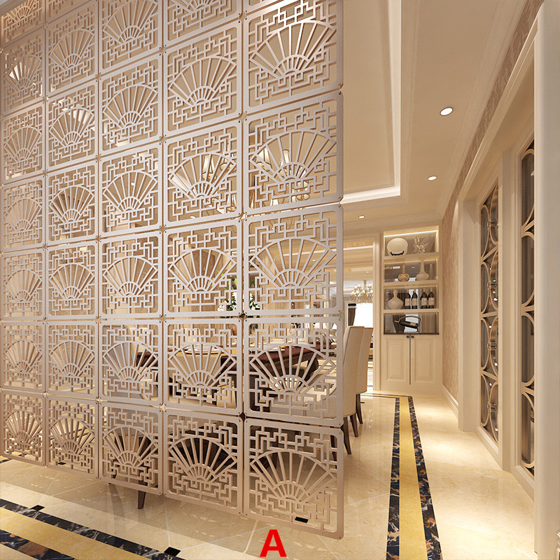 The living room screen classical imitation wood folding screen office bedroom entrance door curtain are hollow partition Biombo