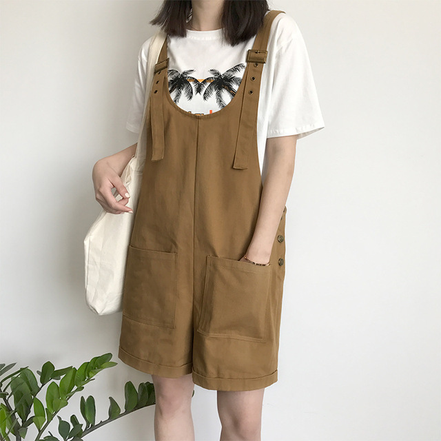 018d63b8b03 2018 Summer Casual Overalls Women Khaki Adjustable Strap Preppy Style Loose  Jumpsuits Rompers Pocket Oversized Playsuits