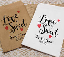 custom LOVE IS SWEET Wedding popcorn candy Buffet lolly bags BIRTHDAY Bridal Shower Bakery Cookie desserts gift Favors pouches(China)