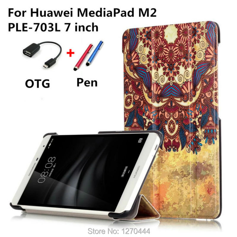 huawei drawing tablet. with colored drawing pu leather cases cover for huawei mediapad m2 ple-703l 7\u0027\u0027 t2 7.0 pro tablet pc+pen+otg l