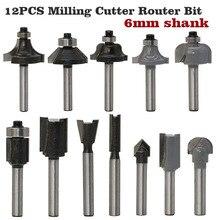 12 pz Fresa Router Bit Set 6mm di Legno Fresa In Metallo Duro Gambo Mulino per La Lavorazione Del Legno Guarnizioni Incisione Intagliare Utensili Da Taglio