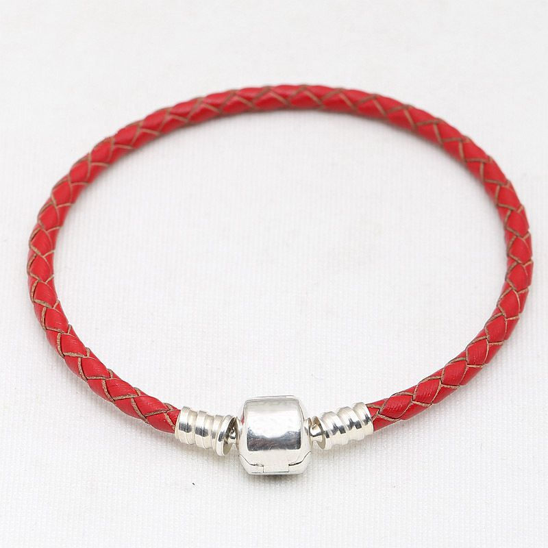 16 31cm 925 Sterling Silver Charm Chain Fit Original Moments Double Woven Genuine Leather Pans Bracelet For Women DIY Jewelry in Charm Bracelets from Jewelry Accessories
