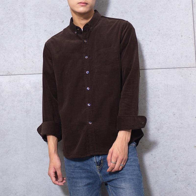 100% Cotton Vintage Corduroy Dress Shirt Men Slim Fit New Casual Shirts Mens Brand Long Sleeve Clothes Camisa Hombre TS-381 2