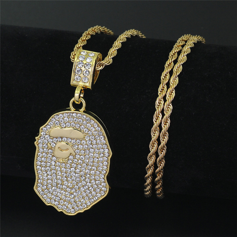 Hip Hop Iced Out Quavo Choker Full Rhinestone Ape Pendent Necklace Present Bling Rapper Jewelry cut out choker jumper