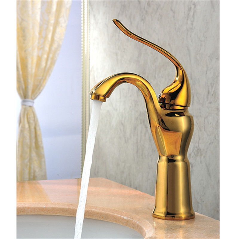 Bathroom Basin Sink Waterfall Faucet. Polish Finished Golden Faucet. Brass Made Basin Sink Mixer Tap donyummyjo luxury bathroom basin faucet brass golden polish swan shape single handle hot