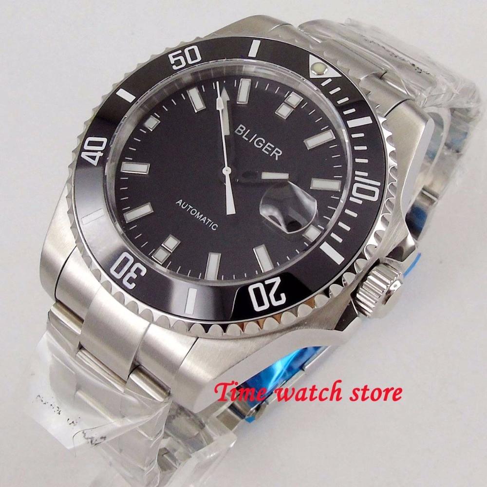43mm BLIGER mechanical auto watch men waterproof stainless steel black dial luminous sapphire ceramic bezel Miyota wrist  177