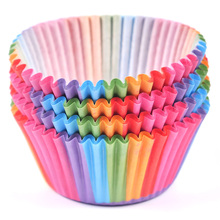 LINSBAYWU Rainbow color 100 pcs cupcake liner baking cup paper muffin cases Cake box Cup tray cake mold decorating tools