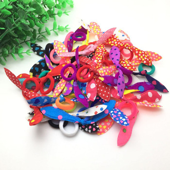 30pcs/lot Rabbit ears Hair band Children kids Hair Accessories Scrunchies Elastic Hair Band for women girl rubber band 1