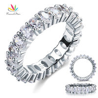Oval Cut Eternity 8 Ct Solid Sterling 925 Silver Wedding Christmas Present Gift Ring CFR8069