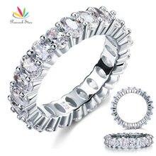 Pavo real Star Oval Cut Eternidad Plata Esterlina Sólida 925 Anillo de Bodas Band Joyería Creado Diamond CFR8069