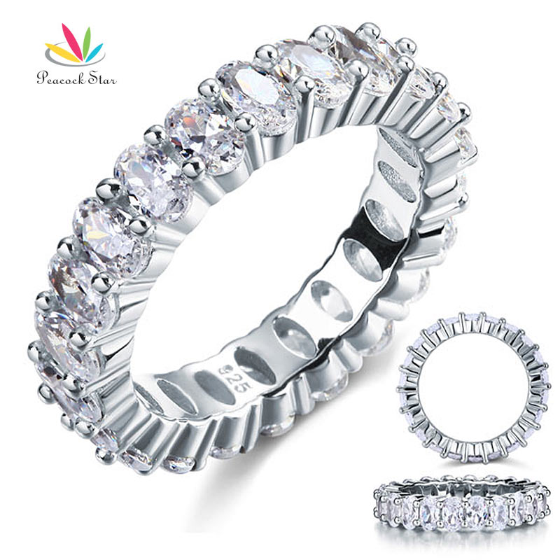 Peacock Star Oval Cut Eternity Solid Sterling 925 Silver Wedding Ring Band Jewelry CFR8069