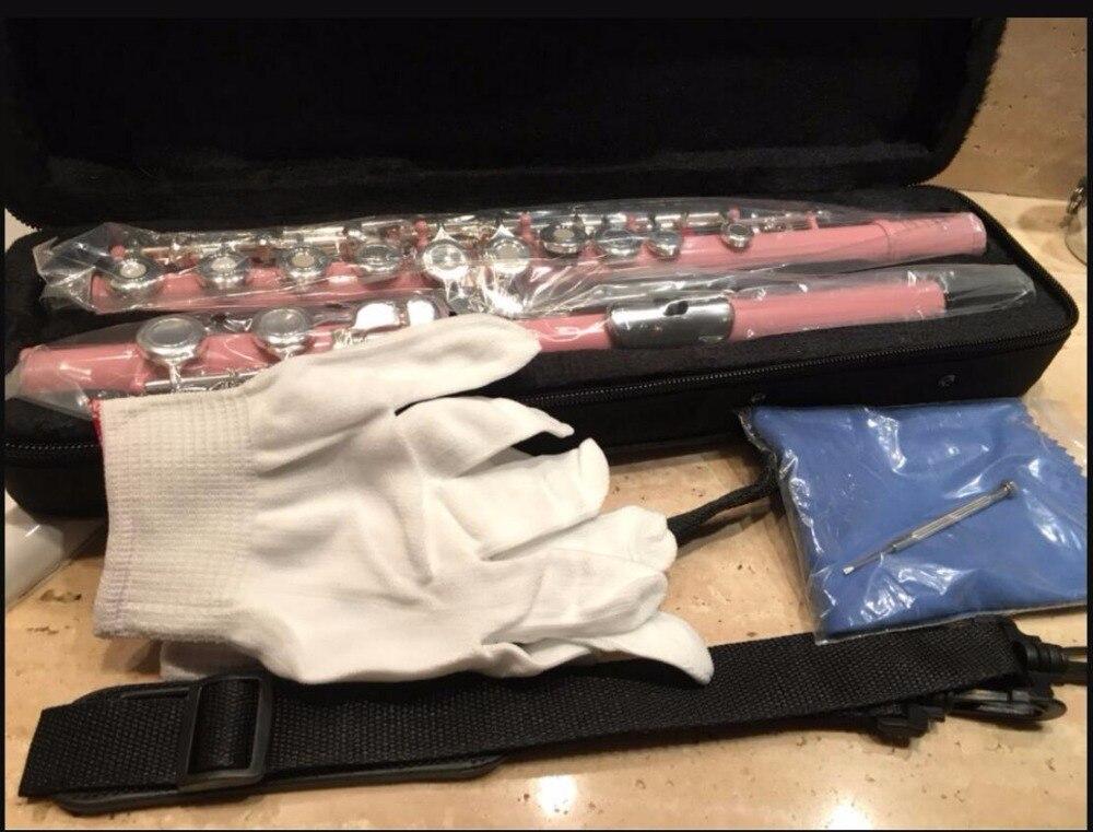 Flûte rose rose 16 trous + E clé ouverture Table farine argent clé et Instrument de haut niveau Flauta avec étui