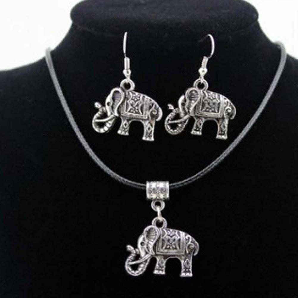 Magic Unique Simple Vintage Beauty Design Novelty Lovely Faddish Newest Gift Elephant Necklace Earrings Set Hot