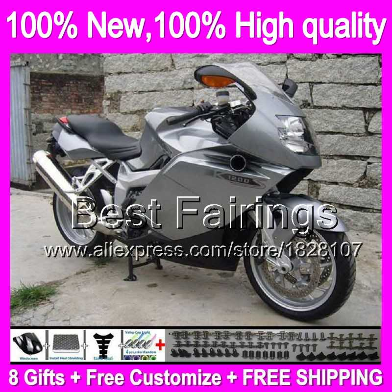 Fairing Untuk BMW K1200S Silver hitam 05-08 K1200 S K 1200 S 1B6 K1200S 05 06 07 08 2005 2006 2007 2008 Silvery K-1200 + decal