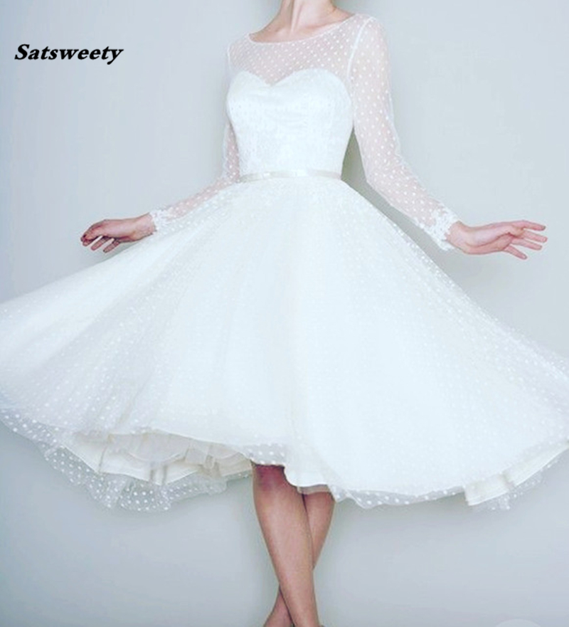 Bridesmaid     Dresses   1905's Vintage White Long Sleeve Short   Dress   For Wedding Women Tea Length Retro Dotted Bridal Gown 2019