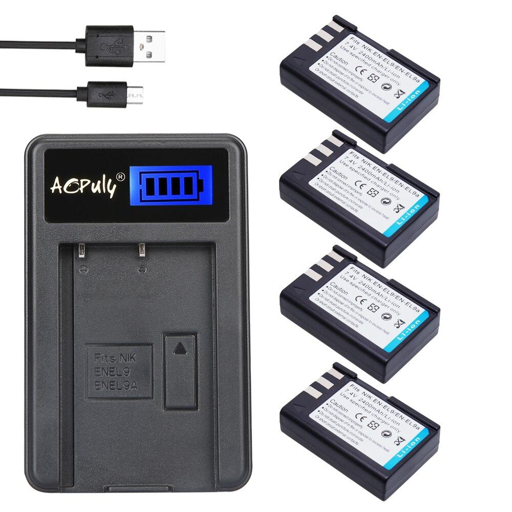 Chaude 4 pcs EN-EL9 bateria EN EL9 EN-EL9a EN EL9a EL9a batterie + usb lcd chargeur pour nikon en-el9a d40 d60 d40x d5000 d3000 caméra