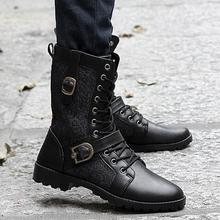High Quality Male Fashion Retro Punk Combat boots Winter England-style Casual shoes Men's mid-calf boot white Black size 39-44 стоимость