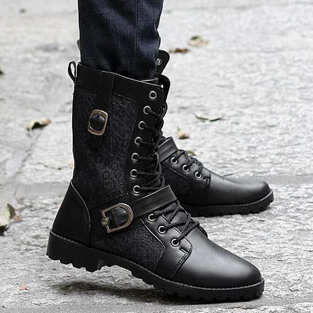 High Quality Male Fashion Retro Punk Combat boots Winter England,style  Casual shoes Men\u0027s mid,calf boot white Black size 39,44