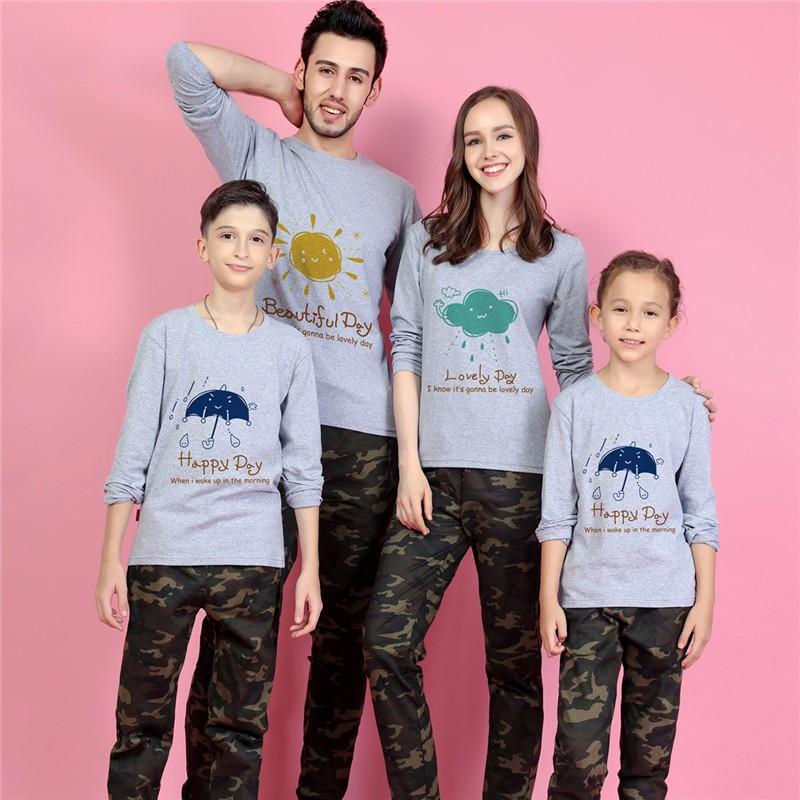 Weather Theme Printed Long Sleeve Shirt Family Matching Tops Shirt