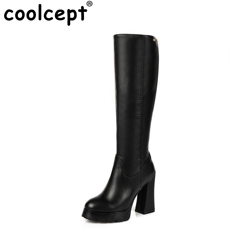 ФОТО women real genuine leather high heel riding over knee boots long boot winter warm botas heels footwear shoes R7933 size 34-39