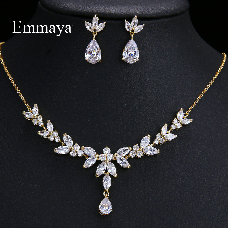Emmaya Vivid Leaves shape Dazzling Wedding Costume Accessories CZ Crystal Colorful Gift Earrings And Necklace Jewelry SetsBridal Jewelry Sets   -