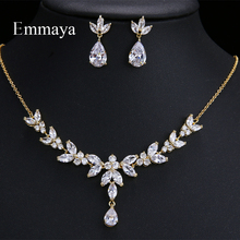 Emmaya Vivid Leaves shape Dazzling Wedding Costume Accessories CZ Crystal Colorful Gift Earrings And Necklace Jewelry Sets