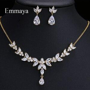 Image 1 - Emmaya accessoires de Costume de mariage en forme de feuilles vives et éblouissantes, ensembles de bijoux boucles doreilles et collier, cristal CZ coloré, cadeau