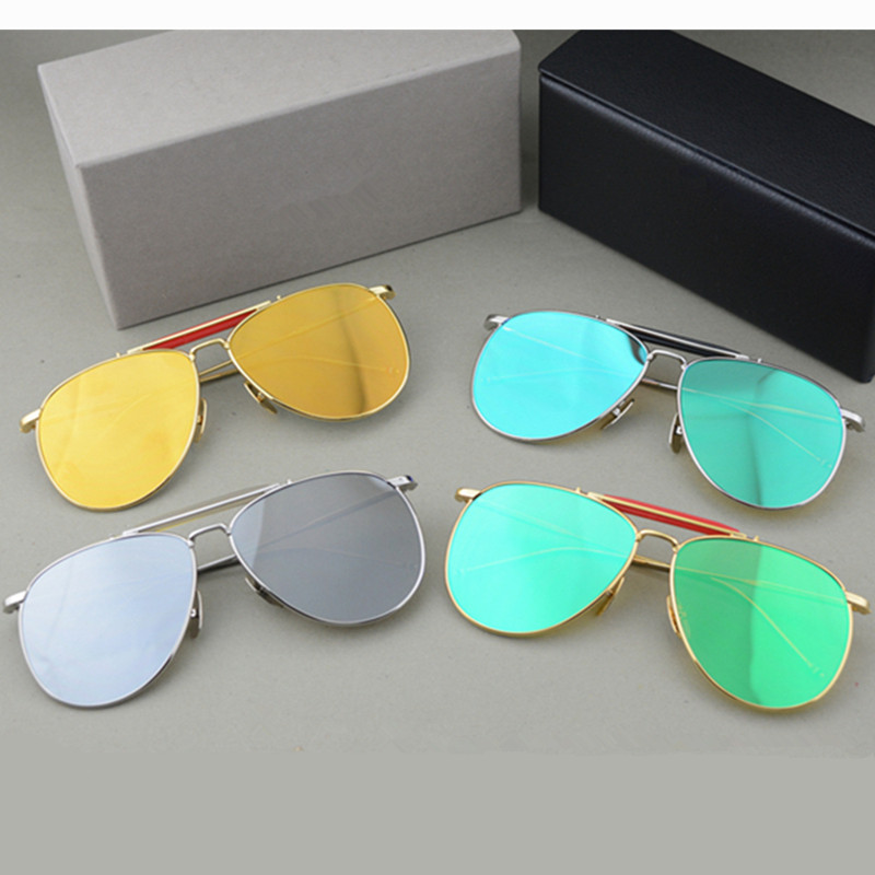 Vintage retro quality pilot sunglasses simple square style thom TB 015 alloy frame coating lens women