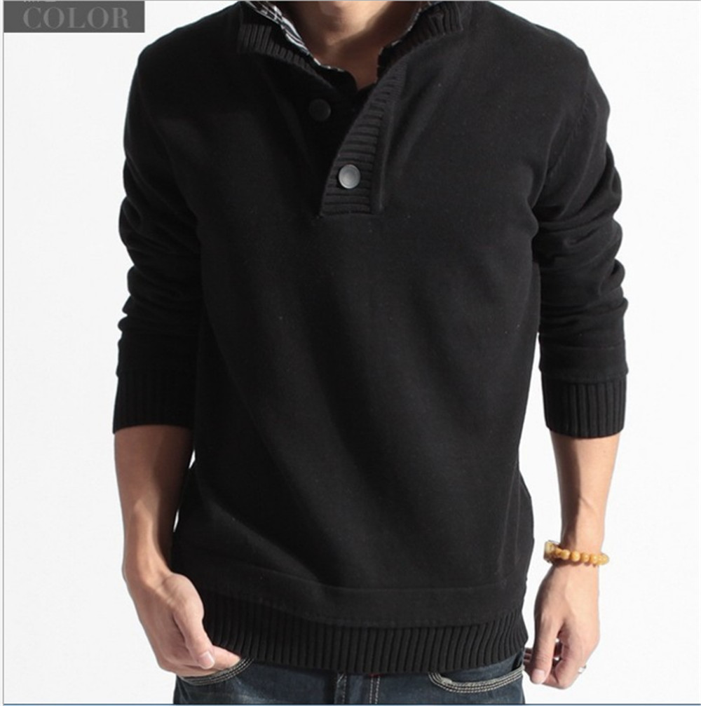2016 New Brand Solid Male Hombre Sweaters Double V Neck Cotton Sweaters Slim Fit Men's Fashion M-XXL