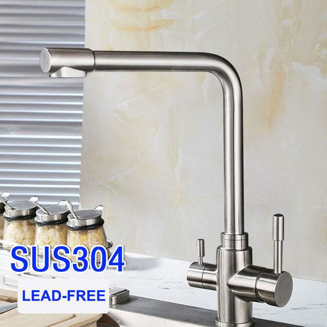 Kitchen Faucet Filter White Sink With Drainboard Triflow Sus304 Stainless Steel Lead Free Drinking Swivel Spout Filtered Water 3 Way