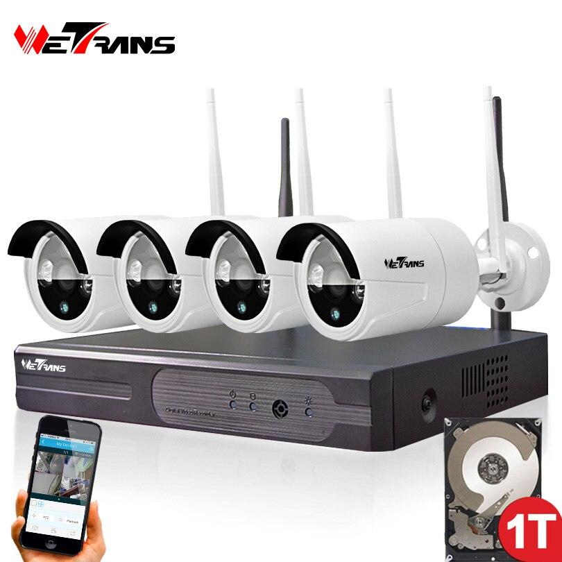 Беспроводные Камеры Безопасности Системы Видеонаблюдения Комплект 4CH Wi-Fi NVR Комплект P2P HD 720 P Ночного Видения Беспроводная IP CCTV Камера Kit Наб...