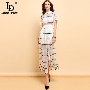 LD LINDA DELLA Fashion Runway Long Dress Women's Striped Vintage Embroidery Bow Tie Hollow Out Lace Elegant Party Dresses