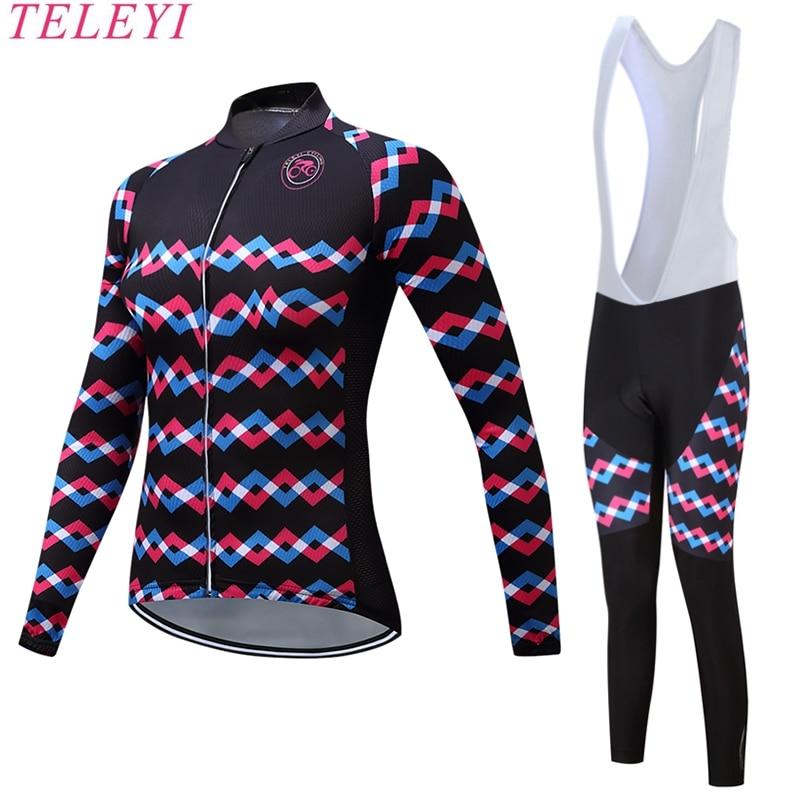 ФОТО teleyi  2017 Cycling Suit Jersey Women's Long Sleeve Bicycle Cycling Clothing Bike Wear Maillot Ropa Set