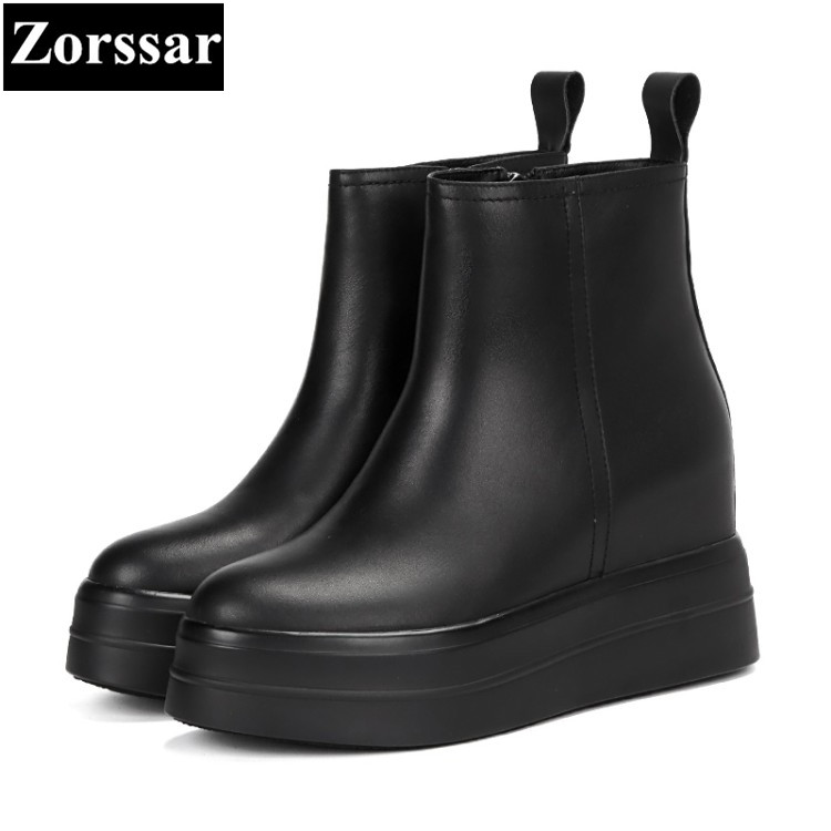 {Zorssar} Woman Fashion Genuine Leather Ankle Martin Boots Female zipper Casual wedges platform short shoes Autumn women Shoes women led light shoes casual shoes led luminous boots unisex genuine leather ankle boots women usb charging martin boots 35 46